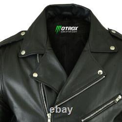 Mens Leather Brando Jacket Biker Classic Motorbike Motorcycle Vintage Perfecto