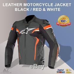 Mens Leather Jacket like Alpinestars Motorcycle Road Bike Leather