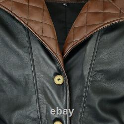 Mens Leather Trench Coat Assasins Creed Coat Halloween Biker Style Jacket