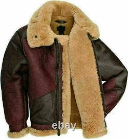 Mens Maroon RAF Aviator Fur Shearling B3 Flying Brown Bomber Real Leather Jacket
