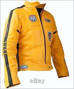 Mens Motorbike Soft Yellow Leather Fully Zipped Kill Bill design Hunter Jacket