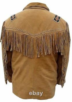 Mens Native American Cowboy Suede Leather Jacket With Fringes Bones and Beads