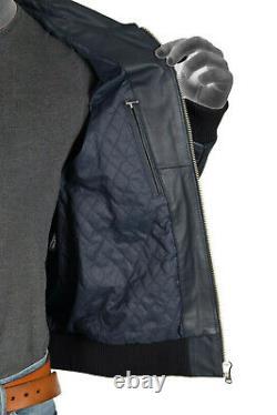 Mens Navy Blue Bomber 100% Real Leather Pilot Jacket