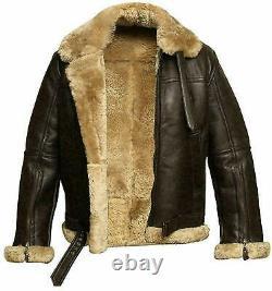 Mens RAF Aviator B3 Bomber Pilot Flying FuR Real Leather Jacket WARM JACKET