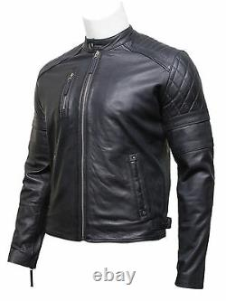 Mens Real Leather Retro Classic Quilted Arm & Shoulders Navy Blue Biker Jacket