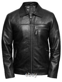 Mens Real Leather Vintage Retro Black/Brown/Burgundy Biker Jacket