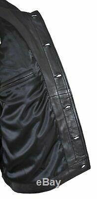 Mens Real Soft Leather Jacket Trucker Denim Style Coat Solo Black
