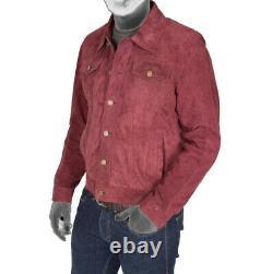 Mens Real Soft Suede Trucker Denim Style Burgundy Leather Jacket
