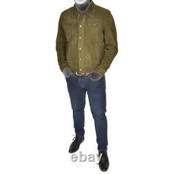 Mens Real Soft Suede Trucker Denim Style Green Leather Jacket