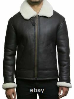 Mens Shearling Sheepskin Leather Bomber Aviator Flying Jacket Brown/Black/Cream
