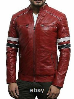 Mens Soft Leather Retro Classic Black/Red Racing Biker Jacket