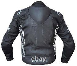 Mens Warrior All Black Gp Rush Flag Motorbike Motorcycle Ce Armour Biker Jacket