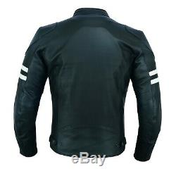 Mens Warrior Classic Motorcycle CE Armour Genuine Cowhide Leather Bikers Jacket