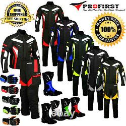 Mens Waterproof Motorcycle Suit Motorbike Leather Boots Racing Glove CE Armoured