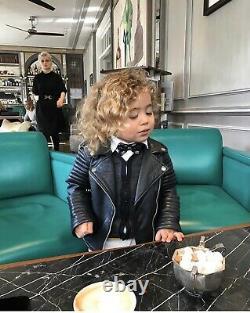 Molo Kids Boys Girls Leather Biker Jacket Size 6 years old