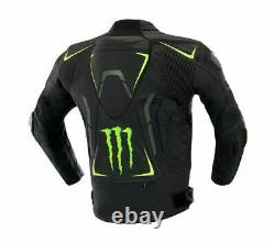 Monster Energy Men Biker Leather Jacket Motorcycle Racer Motorbike Sports S-4XL
