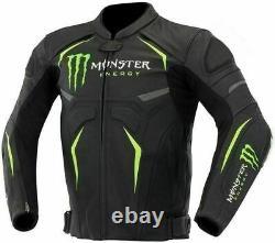 Monster Energy Motorcycle Cowhide Leather Street Racing Motorbike Jacket