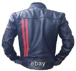 Moto Guzzi Motorbike Jacket Top Quality Cowhide Leather with Inner CE Protection
