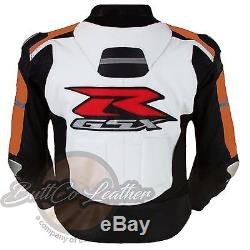 Moto Leather Biker Jacket SUZUKI 1078 Riding Orange Motorbike Motorcycle Cloth