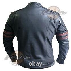 Motorbike Coat Motorcycle Real Leather Jacket 4570 Black Armoured Biker Gear