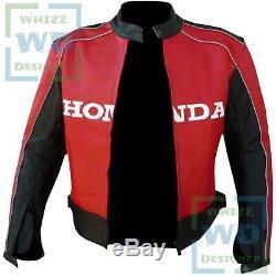 Motorbike LEATHER JACKET Honda 5523 Red Biker Gear Motorcycle Cowhide Race COAT