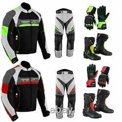 Motorbike Motorcycle Racing Suit Jacket Trousers Waterproof Boots Gloves Armored