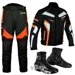 Motorbike Suit Orange Trouser Jacket Cordura Textile Leather Urban Style Boot