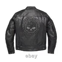 Motorcycle Motorbike Mens Harley Davidson Cowhide Leather Black Jacket UK
