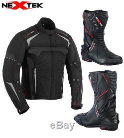 Motorcycle Motorbike Waterproof Jacket Coat Biker Leather Boot Touring Shoes