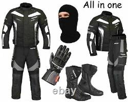 Motorcycle Motorbike Waterproof Suit Cordura Jacket Trouser Gloves Leather Boots