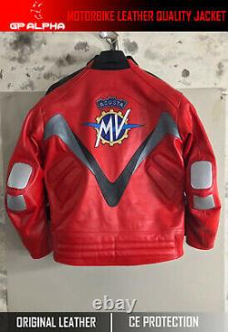 Mv Agusta Red motorbike motorcycle racing original leather jacket by GP ALPHA