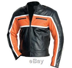 NEW BLACK/ORANGE Motorbike/Motorcycle Leather Jacket-Genuine Cowhide-MEN/WOMEN