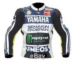 NEW YAMAHA-Genuine Leather Motorbike/Motorcycle Racing Jacket-Biker-MotoGp(Rep)