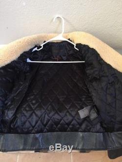 NWOT WOMENS XS COACH Leather Shearling Boys OVERSIZED Biker Jacket MSRP $1795