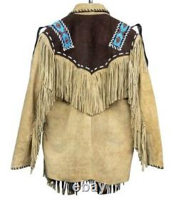 Native American Western Wear Suede Leather Jacket Fringes & Beads Work Coat