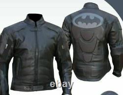New Batman Motorbike Leather Jacket In Cowhide/5 Inside Ce Approved Protection