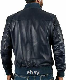 New Bomber Casual Leather Jacket Men Genuine Lambskin Plain Blue Color Stylish