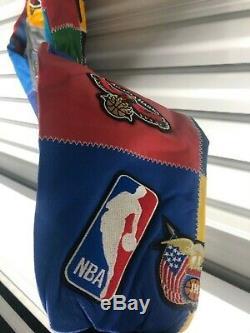 New Jeff Hamilton NBA All Teams Patch Multi Color Leather Jacket Boys XL