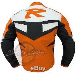 New Leather Biker Jacket YAMAHA R Riding Orange Motorbike Motorcycle Clothing