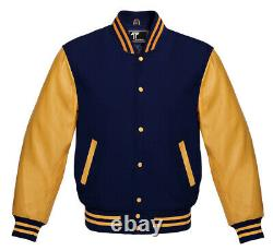 New Letterman American Varsity Jacket Navy Wool with Gold Real Leather Sleeves