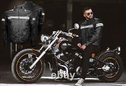 New Men Motorbike Genuine Leather Waterproof Jacket Motorcycle Protection