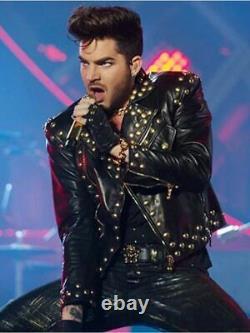 New Men's Adam Lambert Concert Studded Genuine Leather Black Biker Wear Jacket