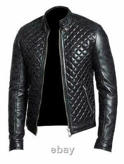 New Men's Cafe Racer Black Quilted Classic 100 % Genuine Leather Stylish Jacket