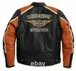New Men's Classic Cruiser leather jacket Orange Strips Motorcycle Riding Jacket