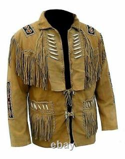 New Men's Native American Cowboy Buckskin Leather Jacket Coat With Fringes Brown