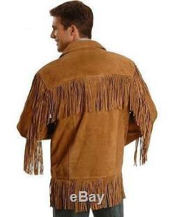 New Men western fringe jackets, Men brown fringe jacket Men cow boy suede jacket