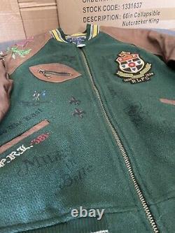 New Polo Ralph Lauren Old Boys Crew Leather Sleeve Varsity Jacket SIZE S NEW