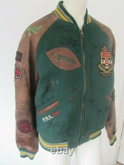 New Polo Ralph Lauren Old Boys Crew Leather Sleeve Varsity Jacket S