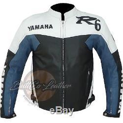 New R6 YAMAHA Riding Biker Motorcycle Clothing Navy BLUE Leather Moto Jacket