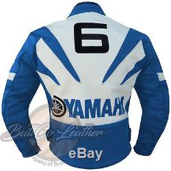 New Sky Blue YAMAHA 6 Motorbike Motorcycle Biker Racing GENUINE Leather Jacket